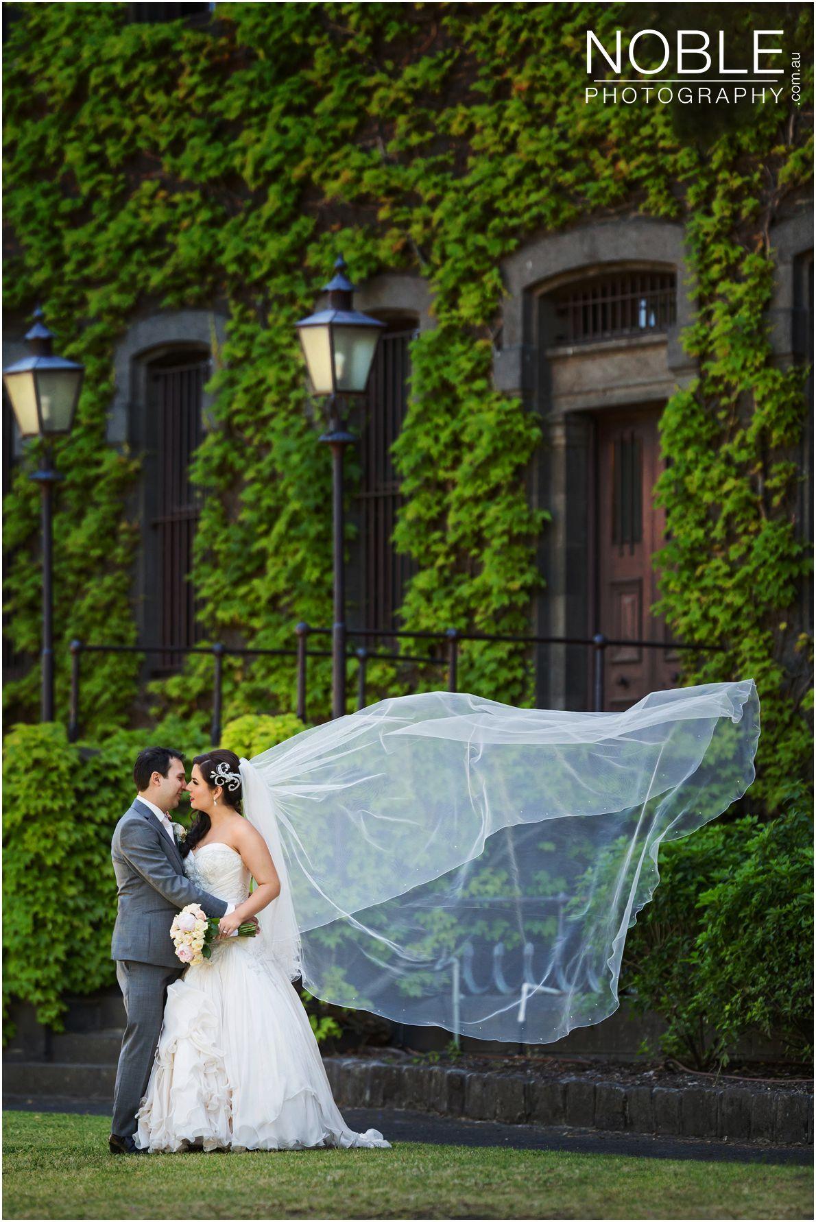 Bride's veil flying in the wind